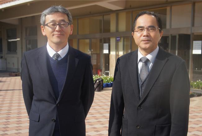 写真左:教頭の大石学先生 写真右:校長の小川豊先生